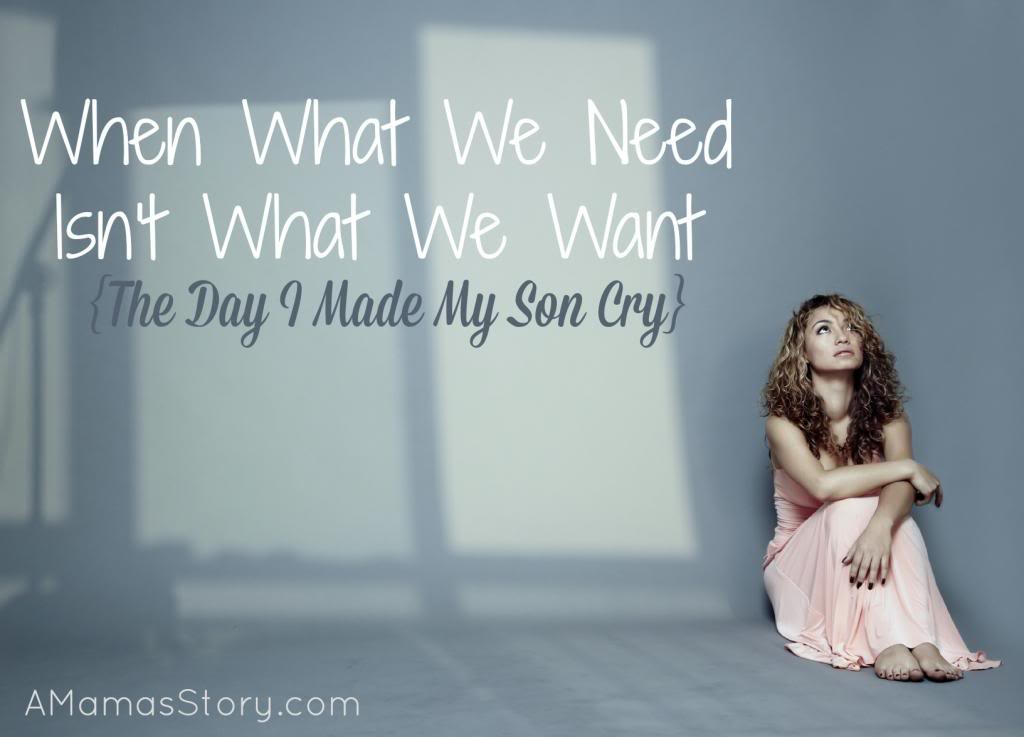 What You Need Versus What You Want {The Day I Made My Son Cry}